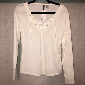 H&M Tight Ribbed Lace Up Long Sleeve Top